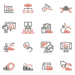 Vector Set of Linear Icons Related to Profit Decline, Finance Regression, Stagnation. Mono Line Pictograms and Infographics Design Elements