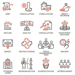 Vector Set of Linear Icons Related to Profit Decline, Finance Regression, Stagnation. Mono line pictograms and infographics design elements - part 2