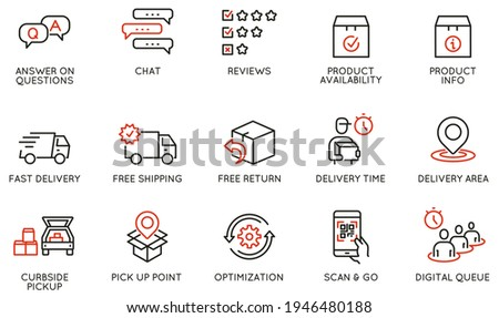 Vector Set of Linear Icons Related to Shipping and Express Delivery Process, Convenience of Purchasing Products and Digital Transformation. Mono line pictograms and infographics design elements Stock photo ©