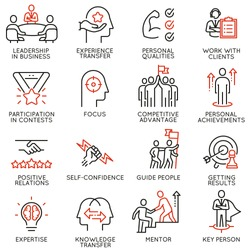 Vector set of linear icons related to skills, empowerment leadership development and qualities of a leader. Mono line pictograms and infographics design elements - part 5