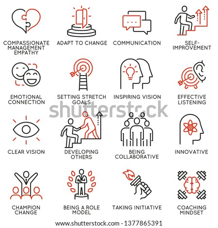 Vector set of linear icons related to skills, empowerment leadership development and qualities of a leader. Mono line pictograms and infographics design elements - part 7