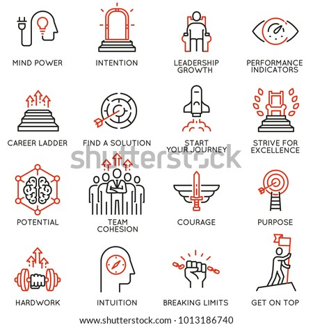 Vector set of linear icons related to skills, empowerment leadership development, qualities of a leader and willpower. Mono line pictograms and infographics design elements - part 3 Сток-фото ©