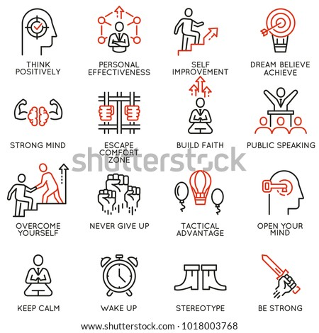 Vector set of linear icons related to skills, empowerment leadership development, qualities of a leader and willpower. Mono line pictograms and infographics design elements - part 4