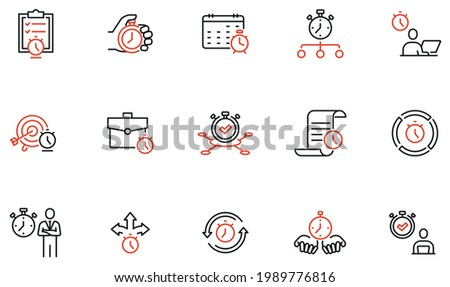Vector Set of Linear Icons Related to Time Management, Reminder, Working Hours. Mono Line Pictograms and Infographics Design Elements Сток-фото ©