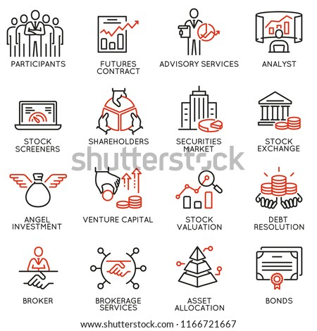 Vector set of linear icons related to trade service, investment strategy and management. Mono line pictograms and infographics design elements - part 2