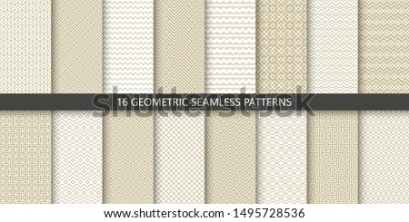 Vector set of linear ornamental seamless patterns. Collection of geometric luxury modern patterns. Patterns added to the swatch panel.