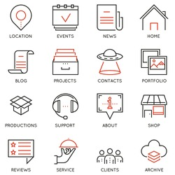 Vector set of 16 linear quality icons related to business management and processes. Basic mono line pictograms and infographics design elements for navigation
