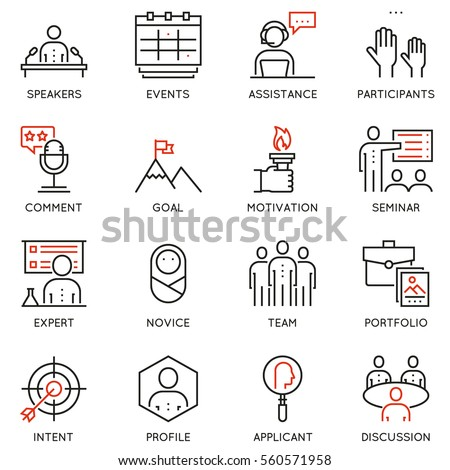 Vector set of 16 linear quality icons related to business management, strategy, career progress and business process. Mono line pictograms and infographics design elements - part 1