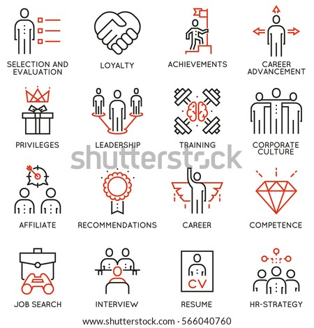 Vector set of 16 linear quality icons related to business management, strategy, career progress and business process. Mono line pictograms and infographics design elements - part 2 Stock photo ©
