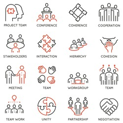 Vector set of 16 linear quality icons related to team work, career progress and business process. Mono line pictograms and infographics design elements