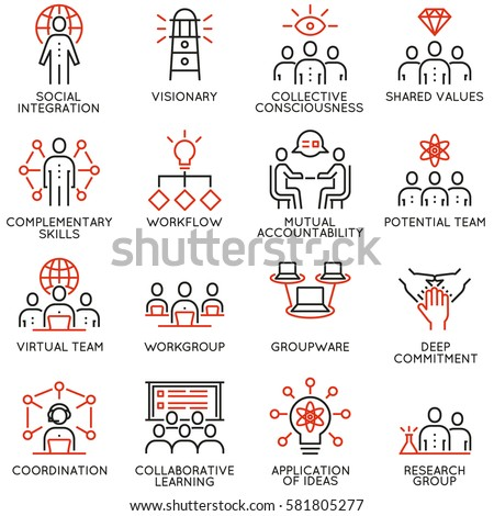 Vector set of 16 linear quality icons related to team work, career progress and business process. Mono line pictograms and infographics design elements - part 3