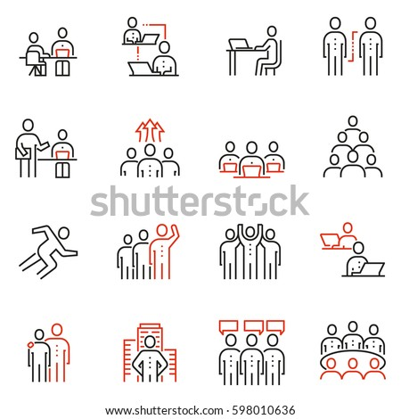 Vector set of 16 linear quality icons related to team work, human resources, business interaction. Mono line pictograms and infographics design elements