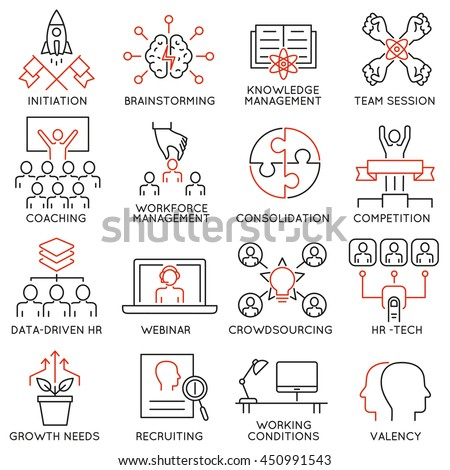 Vector set of 16 linear thin icons related to striving for success, leadership development, career progress and personal training. Mono line pictograms and infographics design elements - part 2