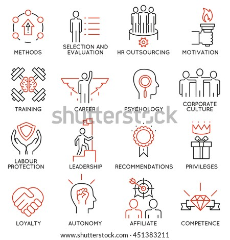 Vector set of 16 linear thin icons related to striving for success, leadership development, career progress and personal training. Mono line pictograms and infographics design elements - part 1