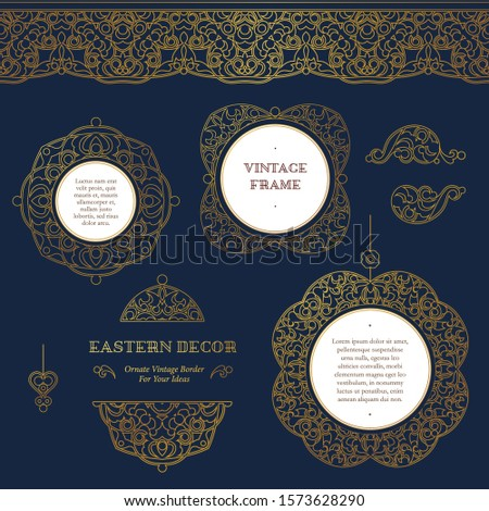Vector set of lineart frames and seamless borders for design template.Elements in Eastern style. Golden outline floral arabic ornament. Isolated line art ornaments. Gold monoline ornamental decoration