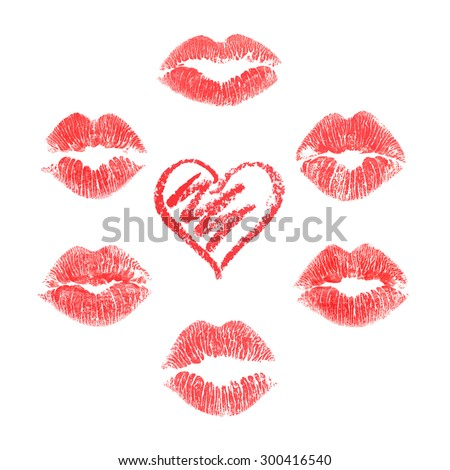 vector set of lips prints on
