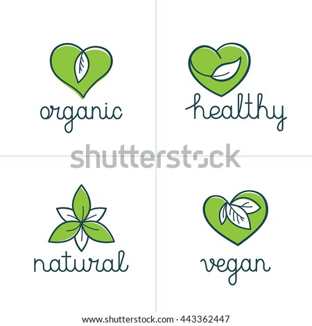 Vector set of logo design templates and badges in trendy linear style with green leaves - organic, healthy, natural, vegan - emblems for vegetarian and fresh food packaging - nature love