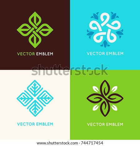 Vector set of logo design templates and emblems with leaves and lines - beauty spa concepts - green badges for yoga studios and classes, alternative medicine centers, organic and vegan food