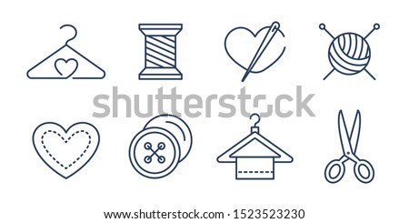 Vector set of logo design templates and icons  in simple linear style - handmade fashion and crafts badges - signs for hand crafted packaging products