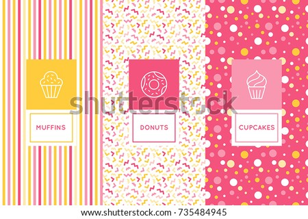 Vector set of logo design templates and seamless patterns in flat linear style for packaging - sweet cupcakes - emblems for confectionery store, bakery and cafe