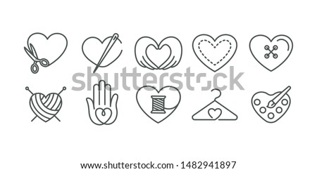 Vector set of logo design templates in simple linear style - handmade fashion and crafts badges - knitted, sewn, embroidered with love, signs for hand crafted packaging products