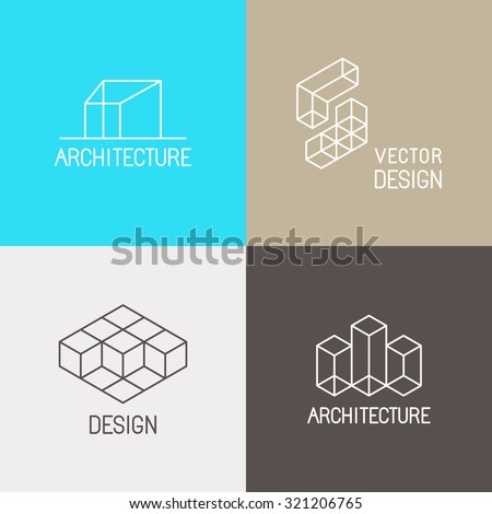 Vector set of logo design templates in simple trendy linear style for architecture studios, interior and environmental designers - mono line icons and signs
