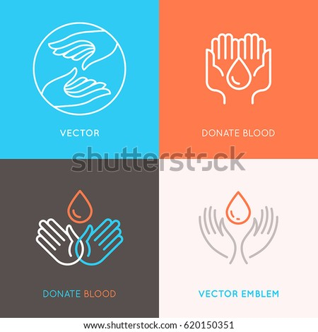 Vector set of logo design templates in trendy linear style - blood donation, medicine and health care concepts - caring and protecting hands
