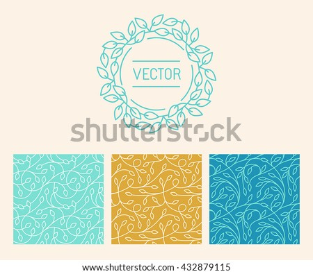 Vector set of logo design templates, seamless patterns and signs for identity, business cards and packaging - floral shops,, cosmetics packaging, beauty and spa studios