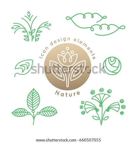 Vector set of logo nature elements - abstract  leafs, clouds, flowers in linear style. Floral icons. Emblems for design of natural products, cosmetics and global ecology.