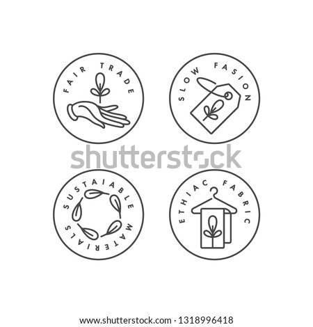 Vector set of logos, badges and icons for eco-friendly manufacturing and organic products. Eco safe sign design. Collection symbol of natural certified producing of clothes