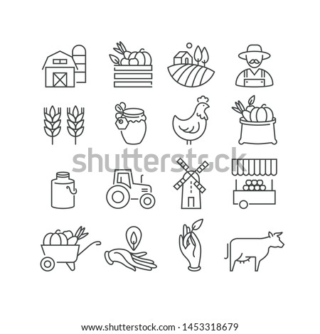 Vector set of logos, badges and icons for natural farm and health products. Collection symbol of localy grown and organic food Foto d'archivio ©