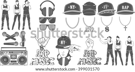 Vector set of logos for rap music style. Logo for t-shirts, music posters, music symbol.