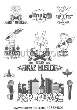 vector set of logos for rap
