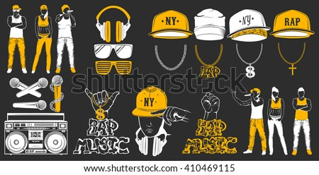 vector set of logos for rap
