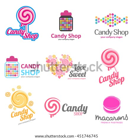 Vector set of logos for sweets, candy shop, boutique, store