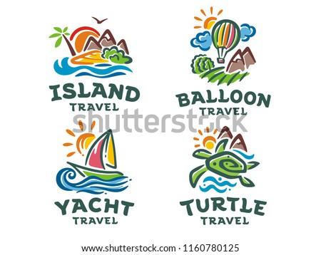 vector set of 4 logos travel