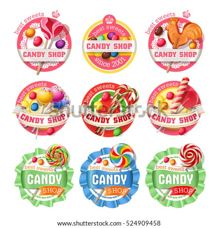 Vector set of lollipop, candy logos, stickers, made in a realistic style.