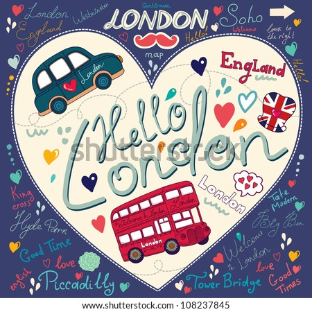 Vector set of London symbols and hand lettering of main place in town. Vector pattern on the topic symbols of London
