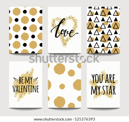 Vector set of love cards for wedding and Valentine's day with golden sparkling effects. Invitation, greeting card, poster design templates. A4. #525376393