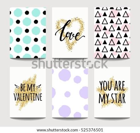 vector set of love cards for