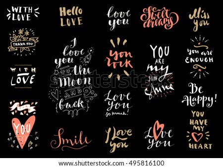 vector set of love hand drawn