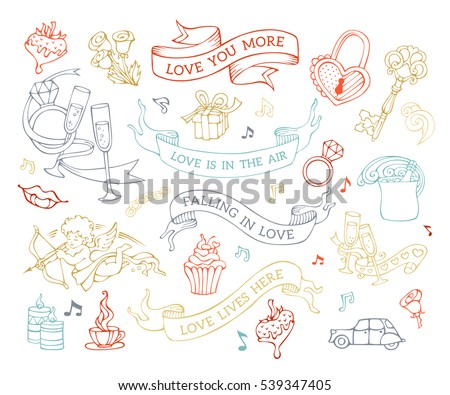 vector set of love icons and