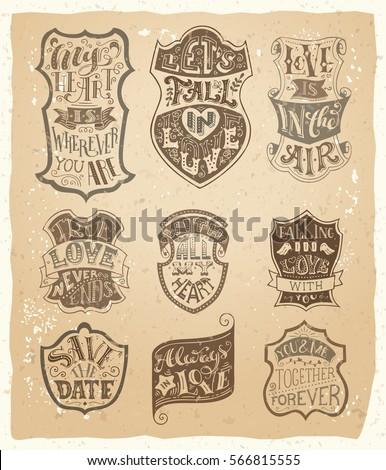 vector set of love vintage