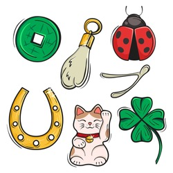 Vector set of Lucky Charms, Symbols and Talismans. Vector Illustration. Symbols of luck, prosperity and success.