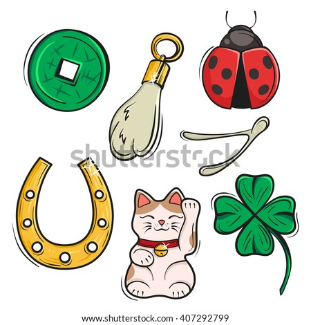 Vector set of Lucky Charms, Symbols and Talismans. Vector Illustration. Symbols of luck, prosperity and success. Сток-фото ©