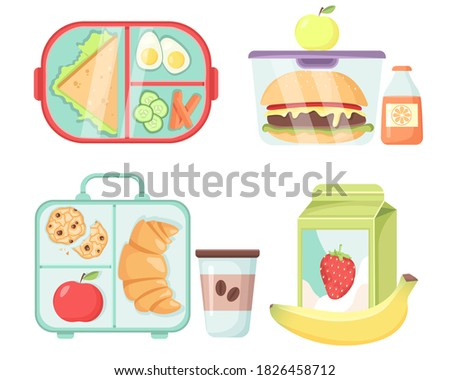 Vector Set of Lunch Boxes. School,Office Snack in a Plastic Container. Isolated on white background. Food,Fruits and Drinks in cartoon style.Healthy Breakfast.Illustration for Web,Graphic,Design.
