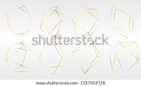 Vector set of luxury golden crystal shapes. Isolated illustration element. Isolated illustration element. Geometric quartz polygon crystal stone mosaic shape amethyst gem.