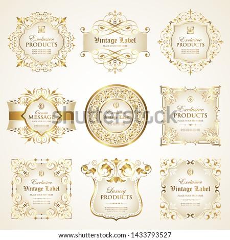 Vector set of luxury ornate white gold-framed label