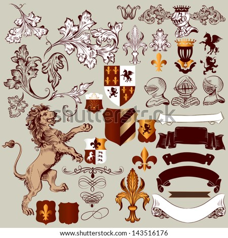 vector set of luxury royal...