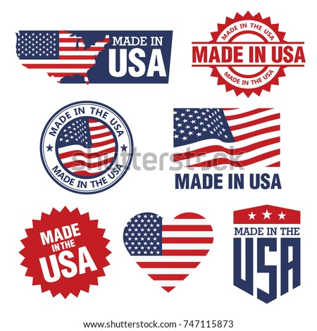vector set of made in the usa
